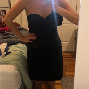 French connection strapless ruffled cocktail dress